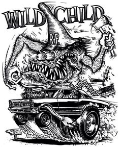 """ratscape: """"Mini gallery of """"Monsters and Hot Rods"""" art by Ed """"Big Daddy"""" Roth """" Rat Fink, Cars Coloring Pages, Coloring Books, Colouring Pics, Coloring Sheets, Hot Rods, Ed Roth Art, Cartoon Rat, Cool Car Drawings"""