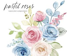 Watercolor Leaves, Watercolor Rose, Pastel Roses, Pink Roses, Create A Sticker, Free Advertising, Frame Wreath, Seascape Paintings, Print Templates