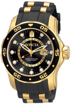 online shopping for Invicta Men's Pro Diver Collection GMT Gold-Plated Stainless Steel Watch Black Band from top store. See new offer for Invicta Men's Pro Diver Collection GMT Gold-Plated Stainless Steel Watch Black Band Rugged Watches, Casual Watches, Cool Watches, Watches For Men, Wrist Watches, Men's Watches, Luxury Watches, Trendy Watches, Unique Watches