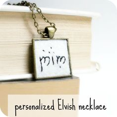 Personalized Elvish Necklace hand embroidered LOTR Hobbit brass gold tone