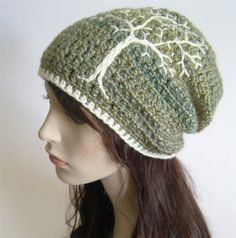 Slouchy Hat with Tree of Life Tree Hat Slouchy Beanie by LoveFuzz