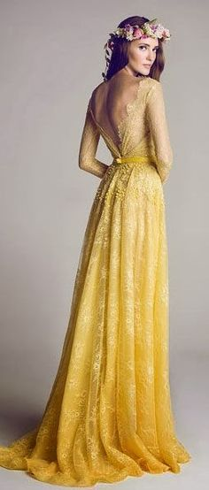 Yellow wedding dress