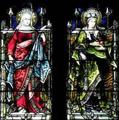 Top two rows - New Testament Figures North Transept Stained Glass Window  Hellenic Orthodox Church of the Annunciation Former North Presbyterian Church 146 West Utica Street, Buffalo, NY 14222 Saints Dorcas and Martha, Lamb Studios