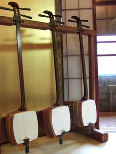 """The Shamisen; the Japanese version of the banjo. Rather then being played  by a guitar pick, the Shamisen is played by an ice scraper-like plectrum called the """"bachi""""."""