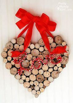 Cork wreath for Valentine's Day