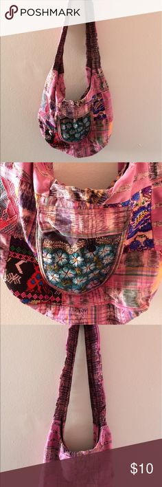 """Pink Embroidered Patchwork Mexican Market Bag Bright & colorful pink/multi-colored cotton hobo bag. Great beach bag, or multi-use bag! Purchased from Mexico, no stains, some small areas on back side of bag have bleeding colors. Main compartment has zipper closure, 6"""" x 6"""" pocket with button closure. Bags Hobos"""