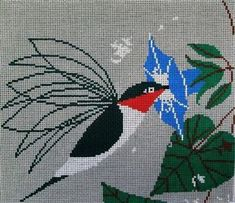 Charley Harper Needlepoint Hummingbird Little Sipper. An easy stitching project with a modern aesthetic.