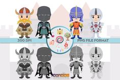 Amazing Unique Fantasy Characters, great for all your creative needs such as scrapbooking, birthday cards, art prints, social media avatars and other creative ideas. ✮ Fantasy Clipart Set 2 ✮ You will receive: Fantasy Characters, Vikings, Knight, Birthday Cards, Clip Art, Scrapbook, Handmade Gifts, Cartoon, Comics