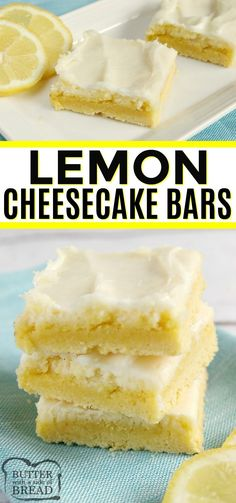 Jan 2020 - Lemon Cheesecake Bars are light, easy to make and only call for six ingredients. The crust is made with a lemon cake mix for an easy lemon dessert recipe with lots of lemon flavor! BUTTER WITH A SIDE OF BREAD Lemon Dessert Recipes, Cake Mix Recipes, Köstliche Desserts, Light Desserts, Lemon Bars Cake Mix Recipe, Desserts With Lemon, Lemon Recipes Baking, Easy Recipes For Desserts, Lemon Recipes Easy