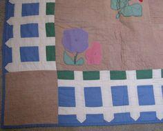 Vintage Quilt Flower Garden Picket Fence by PureAndSimplyMe