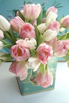 Pink and white tulips in a turquoise tin, so pretty
