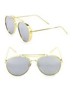 c840e3b3846 Gentle Monster Big Bully 59MM Mirrored Round Aviator Sunglasses - Gold