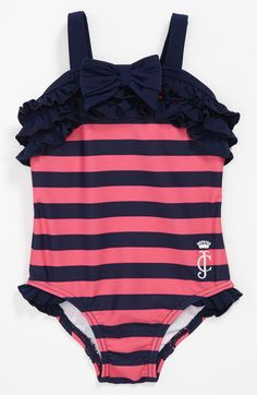 Baby girl / baby clothes / floral and stripes / newborn outfit / modern baby… Little Girl Fashion, Kids Fashion, Baby Girl Swimsuit, Girls Swimming, My Baby Girl, Baby Baby, Baby Girls, Swagg, Juicy Couture