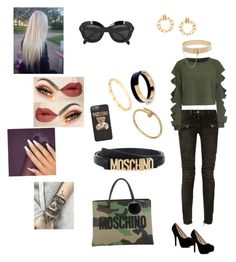 """""""Moschino"""" by mcgoverncaitlinl on Polyvore featuring Balmain, WithChic, Chanel, Moschino, Boohoo, CÉLINE, Yves Salomon, Eddie Borgo, Marni and Cartier"""