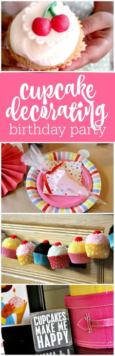 Cupcake decorating birthday party by Cupcake Wishes & Birthday Dreams featured on The Party Teacher | http://thepartyteacher.com/2014/08/07/guest-party-retro-inspired-cupcake-decorating-party-9th-birthday-party/