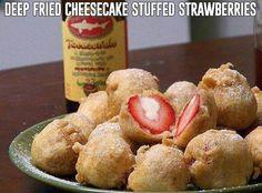 Fried cheesecake strawberries