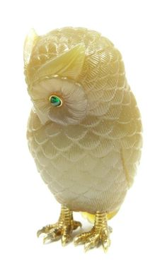 Russian carved agate owl, possibly by Faberge, cabochon emerald eyes in 14k yellow gold settings.