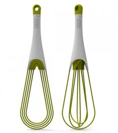 "Joseph Joseph Folding Whisk  -- Another innovative tool from our friends at Joseph Joseph—this is a flat whisk and balloon whisk in one. Simply twist the base of handle to select flat whisk or balloon whisk. The flat whisk setting makes storage easy, and parts are easy to separate for quick cleaning. Whisk is suitable for nonstick cookware. 11¾"" l. Dishwasher safe."