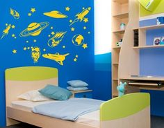 Space Journey Set with Spaceships UFO Astronaut Stars and Planets Wall Decal by Style  Apply  Wall Sticker Vinyl Wall Art Home Decor Wall Mural  2236  47in x 47in Gold ** You can find more details by visiting the image link. (This is an affiliate link and I receive a commission for the sales)