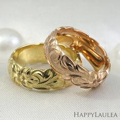 Hand made Hawaiian gold ring hand engraved with the Old English Design. The design is a gathering of the Hawaiian plumeria, Hawaiian Wave (scroll)