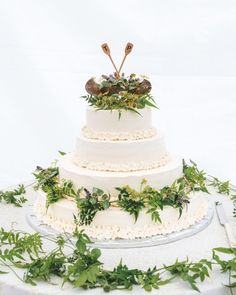 You're probably getting married at a summer camp or in front of a barn. If you love all things rustic, decorate your wedding cake with locally foraged greenery. It'll fit right in surrounded by all that nature.