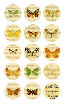 A free digital image collage featuring vintage butterfly images in 1 inch circles on dictionary style pages. Bottle Cap Art, Bottle Cap Crafts, Bottle Cap Images, Butterfly Images, Vintage Butterfly, Scrapbook Paper, Scrapbooking, Image Collage, Image Digital