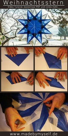 Weihnachtsstern aus Transparentpapier basteln, blau - made by myself Make beautiful DIY poinsettia from tracing paper as a Christmas decoration - video instructions and free PDF to print out www. Origami Diy, Kids Origami, Origami Stars, Diy Christmas Star, Christmas Star Decorations, Christmas Crafts, Blue Christmas, Christmas Paper, Poinsettia