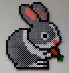 Week 2, Day 11, Bunnies, Perler Beads 365 Day Challenge.