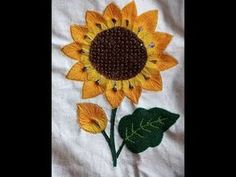 Embroidery Stitches Tutorial, Crewel Embroidery, Embroidery Designs, Fabric Flower Tutorial, Fabric Flowers, Sunflower Template, Hanging Towels, Crochet Squares, Sewing Hacks