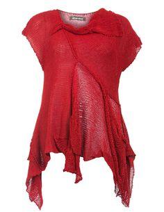 Amandine Zipfeliges Strickshirt mit Baumwolle in Rot