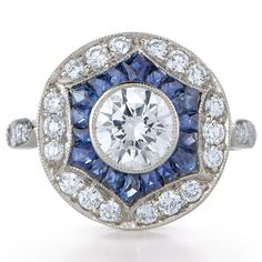 vintage style sapphire and diamond