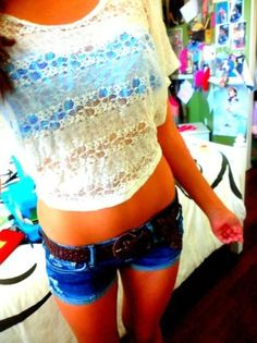 blue bandeau with white lace shirt