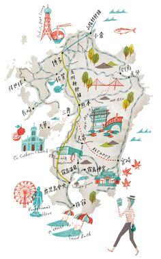 Kyushu Map by Masako Kubo illustration Maps Design, Design Ios, Travel Design, Travel Illustration, Rifle Paper, Travel Maps, City Maps, Kyushu, Plans