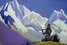 Krishna. Magic Flute., 1938 by Nicholas Roerich. Symbolism. religious painting