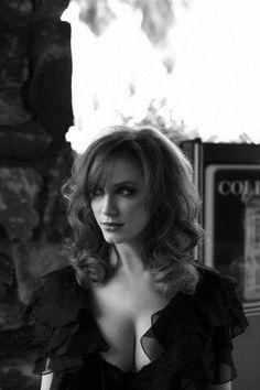 Christina Hendricks cleavage in black and white portrait