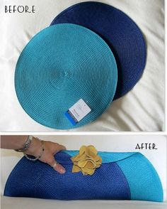 DIY Placemats to Clutch Tutorial from Wobisobi here. Also there is a secret pocket inside the clutch. I have seen so many placemat purses but I really like the shape of this one using the round mats. For hundreds of more DIY bags go here:. Diy Clutch, Diy Purse, Clutch Purse, Blue Clutch, Clutch Tutorial, Diy Bags Purses, Diy Handbag, Handmade Bags, Diy Clothes