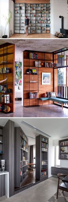 Here are 13 examples of modern secret doors that lead to hidden rooms in homes, hotels, apartments and lofts, that provide a temporary escape from everyone and everything, at least until someone else finds the door. Hidden Spaces, Hidden Rooms In Houses, Secret Rooms, Room Doors, Modern House Design, Door Design, Home Fashion, House Plans, New Homes