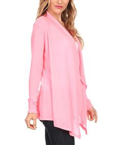 This Candy Pink Cascading Drape-Front Open Cardigan by Karen T. Design is perfect! #zulilyfinds