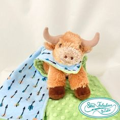 """Unique lovey with cuddly stuffed bull and his very own minky-flannel """"cape""""