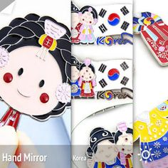 Korean traditional folk hanbok souvenir collection, hand mirror, 한국전통기념품 냉장고자석, 손거울
