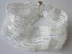 White Bracelet with Seed Beads11\0. Easy to make .Браслет из белого бисера . - YouTube