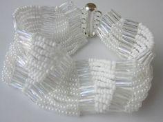 White Bracelet with Seed Beads11\0. Easy to make .Браслет из белого бисера . - YouTube