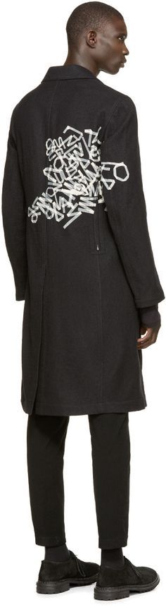 Yohji Yamamoto Black Wool Tape Print Coat
