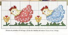 BEBE ponto cruz / spring / hen / border / towel