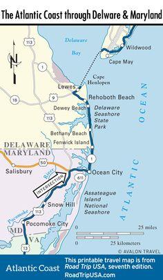 Map of the Atlantic Coast through North Carolina Maps US