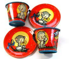 Vintage toy tin tea set.