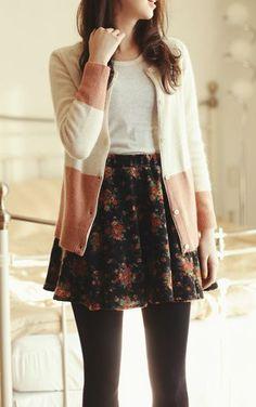 floral skirt, pink cardigan