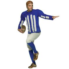 Old Tyme Football Player Costume ShirtPantsHelmetTake the field in this old tyme football player costume for men! This 100 polyester costume includes a blue shirt Football Player Halloween Costume, Clever Halloween Costumes, Cat Costumes, Adult Costumes, Sports Costumes, Halloween 2017, Costume Ideas, Football Jerseys, Football Players