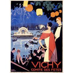 French Deco Vichy Lake Wood Sign