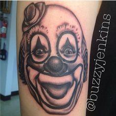 Clown tattoo done by Buzzy Jenkins at Fine Tattoo Work in Orange, California